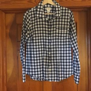 J. Crew Perfect Shirt Gingham Navy